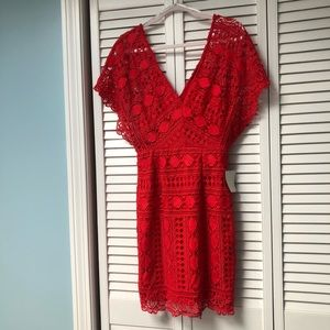 First Kiss Red Lace Dress